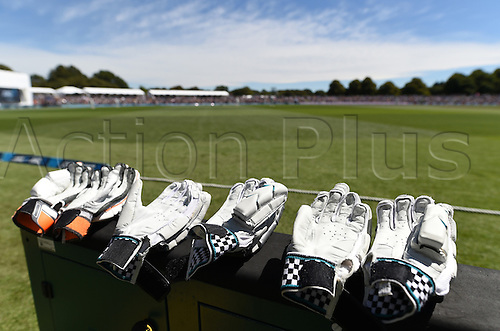 20.02.2016. Christchurch, New Zealand.  Gloves on the boundary. New Zealand Black Caps versus Australia. Day 1, 2nd test match, Hagley Oval in Christchurch, New Zealand. Saturday 20 February 2016.