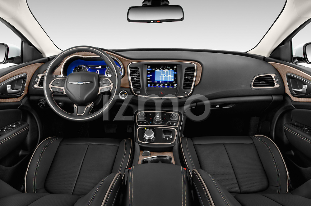 Stock photo of straight dashboard view of2015 Chrysler 200 C 4 Door Sedan Dashboard