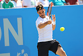 June 18th 2017, Nottingham, England; ATP Aegon Nottingham Open Tennis Tournament day 7 finals day;  Forehand from Thomas Fabbiano of Italy in his singles finals match against Dudi Sela of Israel
