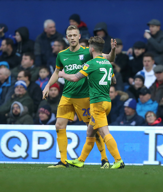 Preston North End's Jayden Stockley celebrates scoring his side's first goal with Sean Maguire<br /> <br /> Photographer Rob Newell/CameraSport<br /> <br /> The EFL Sky Bet Championship - Queens Park Rangers v Preston North End - Saturday 19 January 2019 - Loftus Road - London<br /> <br /> World Copyright &copy; 2019 CameraSport. All rights reserved. 43 Linden Ave. Countesthorpe. Leicester. England. LE8 5PG - Tel: +44 (0) 116 277 4147 - admin@camerasport.com - www.camerasport.com