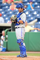 Dunedin Blue Jays catcher Santiago Nessy (43) during a game against the Clearwater Threshers on July 1, 2014 at Bright House Field in Clearwater, Florida.  Dunedin defeated Clearwater 1-0.  (Mike Janes/Four Seam Images)