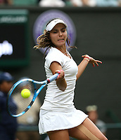 Viktoriya Tomova (BUL) during her match against Serena Williams (USA)<br /> <br /> Photographer Rob Newell/CameraSport<br /> <br /> Wimbledon Lawn Tennis Championships - Day 3 - Wednesday 4th July 2018 -  All England Lawn Tennis and Croquet Club - Wimbledon - London - England<br /> <br /> World Copyright &not;&uml;&not;&copy; 2017 CameraSport. All rights reserved. 43 Linden Ave. Countesthorpe. Leicester. England. LE8 5PG - Tel: +44 (0) 116 277 4147 - admin@camerasport.com - www.camerasport.com