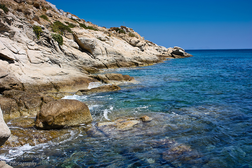 Beautiful waters on the coastline of Mykonos in the Greek Islands