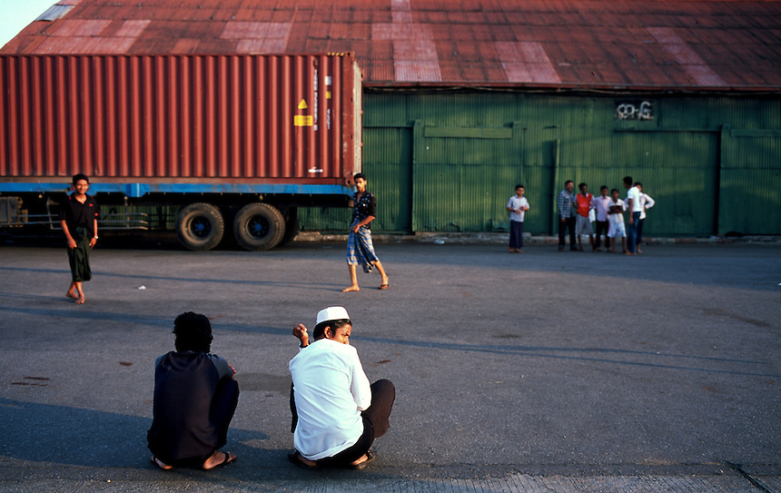Young men at the Yangon docks, Burma/Myanmar, November 2010. Photo: Ed Giles.