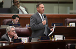 Nevada Assemblyman Mike Sprinkle, D-Sparks, speaks on the Assembly floor at the Legislative Building in Carson City, Nev., on Tuesday, April 21, 2015. <br /> Photo by Cathleen Allison