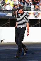 Jul. 26, 2013; Sonoma, CA, USA: NHRA team owner Alan Johnson for top fuel dragster drivers Shawn Langdon and Khalid Albalooshi during qualifying for the Sonoma Nationals at Sonoma Raceway. Mandatory Credit: Mark J. Rebilas-