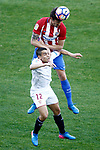 Atletico de Madrid's Stefan Savic (t) and Sevilla FC's Wissam Ben Yedder during La Liga match. March 19,2017. (ALTERPHOTOS/Acero)