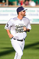 Wisconsin Timber Rattlers pitcher Tyler Gillies (32) warms up prior to a Midwest League game against the Clinton LumberKings on June 20, 2019 at Fox Cities Stadium in Appleton, Wisconsin. Wisconsin defeated Clinton 5-2. (Brad Krause/Four Seam Images)