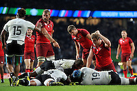 Chris Robshaw points as Billy Vunipola of England crosses the try-line. Rugby World Cup Pool A match between England and Fiji on September 18, 2015 at Twickenham Stadium in London, England. Photo by: Patrick Khachfe / Onside Images