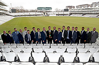 Essex players line up having been presented with the Lords Taverners ECB Trophy during the Lord's Taverners Presentation at Lord's Cricket Ground on 12th March 2018