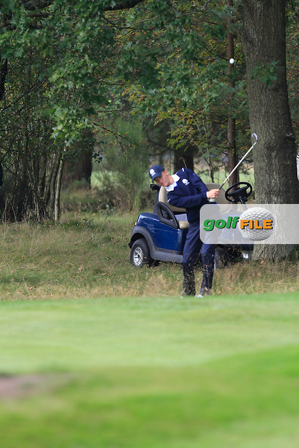Marcus Kinhult (SWE) on the 9th hole of the Mixed Fourballs, puts to go two up during the 2014 JUNIOR RYDER CUP at the Blairgowrie Golf Club, Perthshire, Scotland. <br /> Picture:  Thos Caffrey / www.golffile.ie