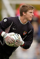 Goalkeeper Zach Wells of the MetroStars. The MetroStars defeated the Chicago Fire 2-0 during the inaugural Hall of Fame game on Monday October 11, 2004 at At-A-Glance Field at the National Soccer Hall of Fame and Museum, Oneonta, NY..