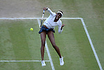 LONDON, ENGLAND - AUGUST 4:  A general view of  Serena Williams of USA during the Women's Tennis Final, Day 8 of the London 2012 Olympic Games on August 4, 2012 at Wimbledon Tennis Club in London, England. (Photo by Donald Miralle)