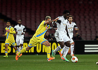 Thursday 27 February 2014<br /> Pictured: Wilfried Bony of Swansea (R) is fouled by Valon Behrami of Napoli (L). <br /> Re: UEFA Europa League, SSC Napoli v Swansea City FC at Stadio San Paolo, Naples, Italy.