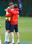Dorin Goian and Kirk Broadfoot as huggy bears