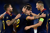 Nicolo Zaniolo of AS Roma celebrates after scoring the goal of 3-0 with Leonardo Spinazzola and Edin Dzeko of AS Roma <br /> Roma 19-9-2019 Stadio Olimpico <br /> Football Europa League 2019/2020 <br /> AS Roma -  Istanbul Basaksehir <br /> Photo Andrea Staccioli / Insidefoto