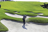Jordan Spieth (USA) plays his 2nd shot from a fairway bunker on the 6th hole at Pebble Beach Golf Links during Saturday's Round 3 of the 2017 AT&amp;T Pebble Beach Pro-Am held over 3 courses, Pebble Beach, Spyglass Hill and Monterey Penninsula Country Club, Monterey, California, USA. 11th February 2017.<br /> Picture: Eoin Clarke | Golffile<br /> <br /> <br /> All photos usage must carry mandatory copyright credit (&copy; Golffile | Eoin Clarke)