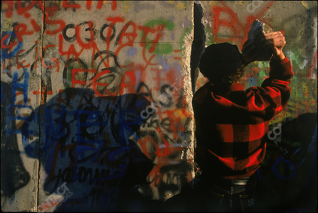 A cross-section of the Berlin Wall shortly after it was breached. East Berlin, German Democratic Republic, November 11, 1989