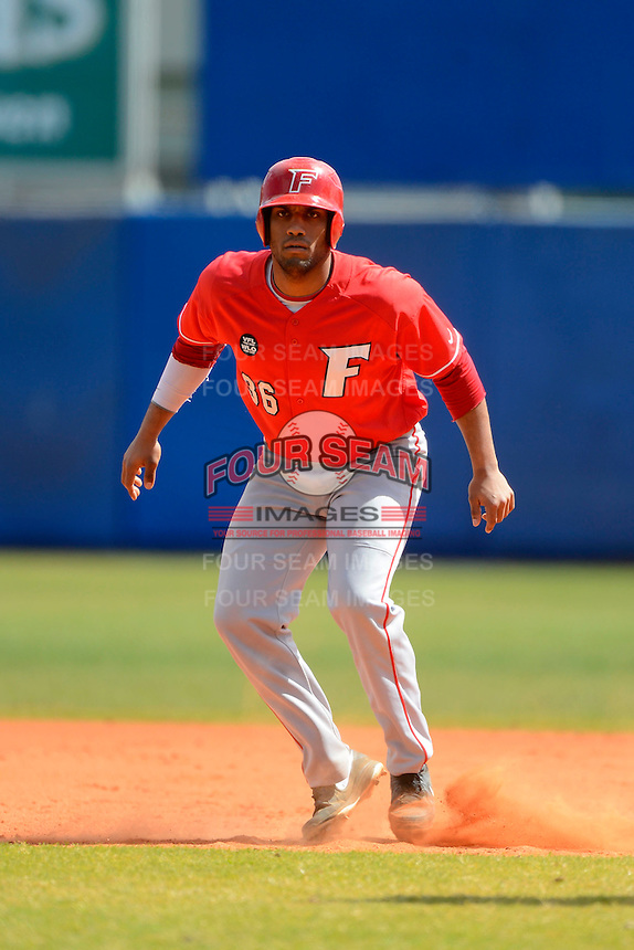 Fairfield Stags designated hitter Sebastian Salvo #36 leads off first during a game against the Illinois State Redbirds at Chain of Lakes Stadium on March 10, 2013 in Winter Haven, Florida.  Illinois State defeated Fairfield 4-2.  (Mike Janes/Four Seam Images)
