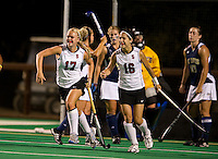 STANFORD, CA - September 3: Emily Henriksson, left, celebrates her goal with Katherine Swank, right,  during a field hockey match against UC Davis, September 3, 2010 in Stanford, California. Stanford won 3-1.