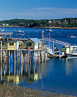 Swans Island, ME<br /> View of yellow wharf and lobster boats at Burntcoat Harbor