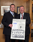 St Johnstone v Aberdeen.....07.12.13    SPFL<br /> Sir Alex Ferguson at McDiarmid Park with Roddy Grant. He was invited by St Johnstone FC to mark the 50th anniversary of a famous game in the club's history when a young 'Fergie' scored hat-trick against Rangers at Ibrox on the 21st December 1963. Saints winning the game 3-2<br /> Picture by Graeme Hart.<br /> Copyright Perthshire Picture Agency<br /> Tel: 01738 623350  Mobile: 07990 594431