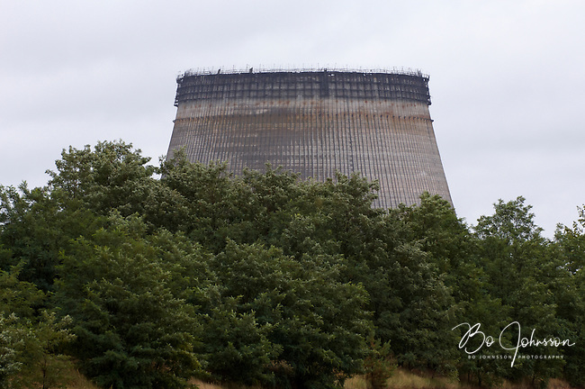 Unfinished cooling tower for reactors 5 and 6 at the Chernobyl Nuclear Power Plant.<br />