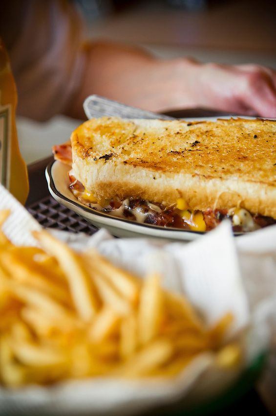 Detail food shot of a grilled ham and cheese sandwich and fries at Henry's Inn a bar and grill located in Rockland Michigan.