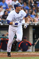 Royals first baseman Mike Sweeney hits a two run home run in the first inning against the Detroit Tigers at Kauffman Stadium in Kansas City, Missouri on May 5, 2007.