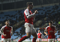Fleetwood Town's Ched Evans celebrates scoring his sides first goal <br /> <br /> Photographer Mick Walker/CameraSport<br /> <br /> The EFL Sky Bet League One - Coventry City v Fleetwood Town - Tuesday 12th March 2019 - Ricoh Arena - Coventry<br /> <br /> World Copyright &copy; 2019 CameraSport. All rights reserved. 43 Linden Ave. Countesthorpe. Leicester. England. LE8 5PG - Tel: +44 (0) 116 277 4147 - admin@camerasport.com - www.camerasport.com