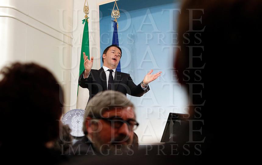 Il Presidente del Consiglio Matteo Renzi tiene una conferenza stampa al termine del Consiglio dei Ministri a Palazzo Chigi, Roma, 12 marzo 2014.<br /> Italian Premier Matteo Renzi attends a press conference at the end of a cabinet meeting at Chigi Palace, Rome, 12 March 2014.<br /> UPDATE IMAGES PRESS/Riccardo De Luca