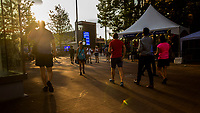 NEW YORK, USA - August 22 People are seen at the fan area during Heineken happy hour in US Open Fan week on August 22, 2019 in New York, USA.<br /> People attend US Open the fan week with Featured practice matches with Roger Federer and Novak Djokovic <br /> (Photo by Luis Boza/VIEWpress)