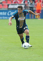 15 September 2012: Philadelphia Union midfielder/forward Danny Cruz #44 in action during an MLS game between the Philadelphia Union and Toronto FC at BMO Field in Toronto, Ontario..The game ended in a 1-1 draw..