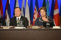 RIO DE JANEIRO-22/06/2012-Presidenta Dilma Rousseff e Ban Ki Moon Secretario Geral da ONU na Cerimonia de Encerramento do Rio 20 no Rio Centro, Barra da Tijuca, zona oeste do Rio.Foto:Marcelo Fonseca-Brazil Photo Press