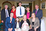 David McCarthy and Geraldine Clifford Killarney celebrated the christening of the son Daithi in Kate Kearney's Cottage on Saturday front row l-r: David, Saoirse Mccarthy, Daithi, Geraldine Clifford and Fiona Mangan. Back row: Denis, Noreen and Denis McCarthy, Kathleen and Patrick Clifford