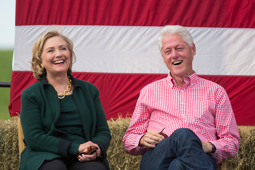 Hillary and Bill Clinton attends Iowa Senator Tom Harken's  annual Steak Fry in Indianola,  Iowa