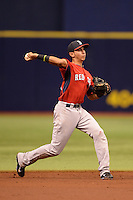 Boston Red Sox shortstop Javier Guerra (19) during an Instructional League game against the Tampa Bay Rays on September 25, 2014 at Tropicana Field in St. Petersburg, Florida.  (Mike Janes/Four Seam Images)