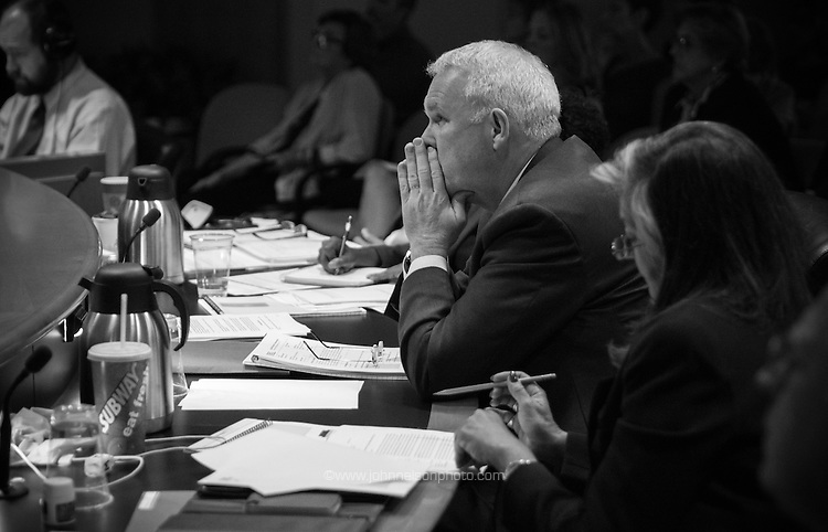 Councilmember Tommy Wells attends the The National Capital Planning Commission meeting in Washington, DC.