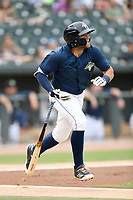 Second baseman Blake Tiberi (3) of the Columbia Fireflies bats in a game against the Greenville Drive on Sunday, May 27, 2018, at Spirit Communications Park in Columbia, South Carolina. Greenville won, 3-0. (Tom Priddy/Four Seam Images)