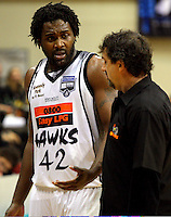 Kareem Johnson discusses the loss with Hawks coach Shawn Dennis during the NBL Basketball match between the Wellington Saints and Bay Hawks, TSB Bank Arena, Wellington, New Zealand on Saturday, 10 May 2008. Photo: Dave Lintott / lintottphoto.co.nz