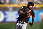 SF Giants&rsquo; Ehire Adrianaza runs the bases in a spring training game against the Seattle Mariners in Peoria, Ariz., on Wednesday, March 16, 2016. <br />Photo by Cathleen Allison