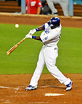 23 July 2011: Los Angeles Dodgers outfielder Tony Gwynn in action against the Washington Nationals at Dodger Stadium in Los Angeles, California. The Dodgers rallied to defeat the Nationals 7-6 on a Rafael Furcal walk-off, RBI double in the bottom of the 9th inning. Mandatory Credit: Ed Wolfstein Photo