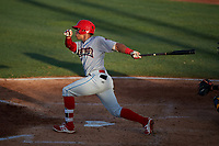 Clearwater Threshers right fielder Jan Hernandez (3) follows through on a swing during a game against the Bradenton Marauders on July 24, 2017 at LECOM Park in Bradenton, Florida.  Bradenton defeated Clearwater 6-3  (Mike Janes/Four Seam Images)