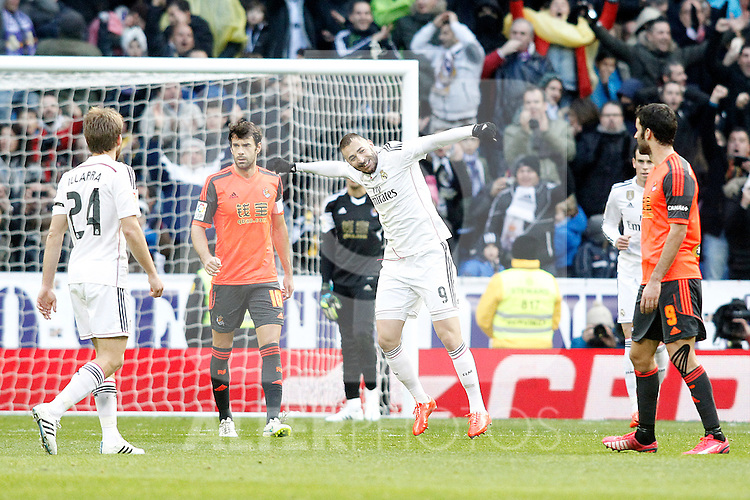 Real Madrid's Karim Benzema celebrates goal during La Liga match.January 31,2015. (ALTERPHOTOS/Acero)