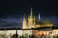 Saint Vitus's Cathedral in Prague Castle at dawn, Prague, Czech Republic, Europe