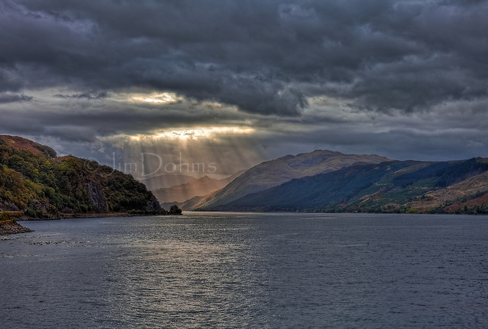 The day began with clouds with an occasional ray of sunlight breaking through. This picyure was taken at Eilean Donan Castle looking down Loch Duich.