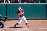 STANFORD, CA -- April 15, 2018. <br /> Arden Pettit during the Stanford Cardinal women's softball team loss to the Oregon State Beavers at the Smith Family Stadium 12-1.