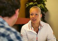 The Netherlands, Den Bosch, 16.04.2014. Fed Cup Netherlands-Japan, Press-conference Netherlands team, , Kiki Bertens, being interviewed<br /> Photo:Tennisimages/Henk Koster