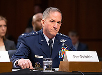 """United States Air Force General David L. Goldfein, Chief of Staff of the Air Force testifies before the US Senate Committee on Armed Services during a hearing on """"Chain of Command's Accountability to Provide Safe Military Housing and Other Building Infrastructure to Service members and Their Families"""" on Capitol Hill in Washington, DC on Thursday, March 7, 2019.<br /> Credit: Ron Sachs / CNP/AdMedia"""