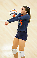 NWA Democrat-Gazette/BEN GOFF @NWABENGOFF<br /> Mary Kate Giesen of Rogers Heritage makes a dig in the 1st set vs Bentonville West Thursday, Sept. 13, 2018, at War Eagle Arena in Rogers.